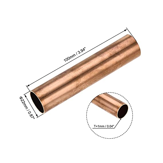 Brass Round Tube 300mm Length 7mm OD 1mm Wall Thickness Seamless Pipe Tubing