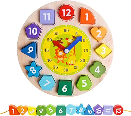 TELL TIME MONTESSORI Wooden EDUCATIONAL KIDS Toy CLOCK With Movable Hands