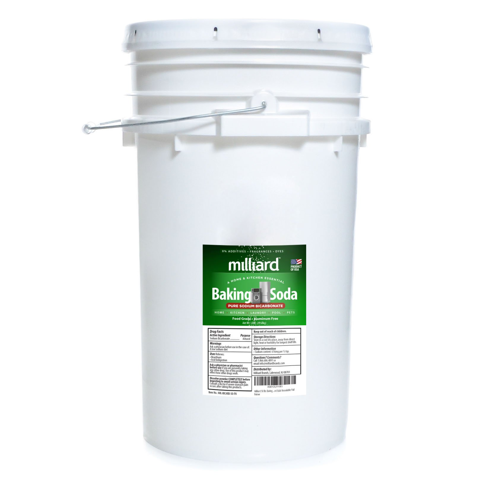 Milliard 50 lbs Baking Soda/Sodium Bicarbonate USP - 50 Pound Bulk Resealable Pail
