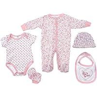 Snugzeez Pink Hearts Baby Gift Set, 00, 5 Count