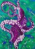 Toland Home Garden Purple Octopus 28 x 40 Inch Decorative Multicolor Teal Swimming Ocean Octopod House Flag