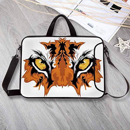 Eye Lightweight Neoprene Laptop Bag,Tiger Eyes Graphic Mascot Animal Face Bengal Cat African Safari Predator Theme Decorative Laptop Bag for Laptop Tablet PC,14.6