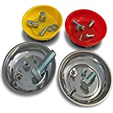 OCM 4 Pack Magnetic Parts Tray Set, Includes 2 Stainless 4 1/4-inch Diameter Bowls, 2 Impact-Resistant Color Coded Bowls