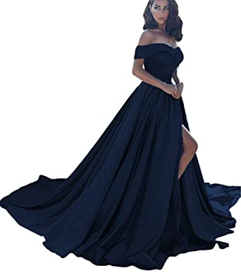 0218fbeaf5a Image Unavailable. Image not available for. Color  Ruiyuhong Women s A-line  Off The Shoulder Prom Dresses Navyblue Satin Sexy Split ...