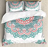 Henna Duvet Cover Set Queen Size by Ambesonne, Soft Colored Mandala South Asian Culture Inspired Ethnic Style Floral Image, Decorative 3 Piece Bedding Set with 2 Pillow Shams, Turquoise Coral Teal