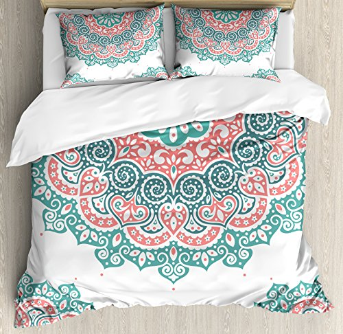 Ambesonne Henna Duvet Cover Set King Size, Soft Colored Mandala South Asian Culture Inspired Ethnic Style Floral Image, Decorative 3 Piece Bedding Set with 2 Pillow Shams, Turquoise Coral Teal (Teal Sets Bedding Colored)