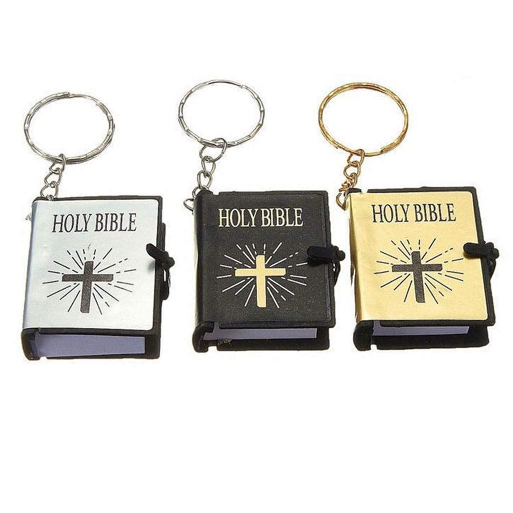 ISKYBOB 3 Piezas Mini Llaveros de Libros de Biblia Real ...
