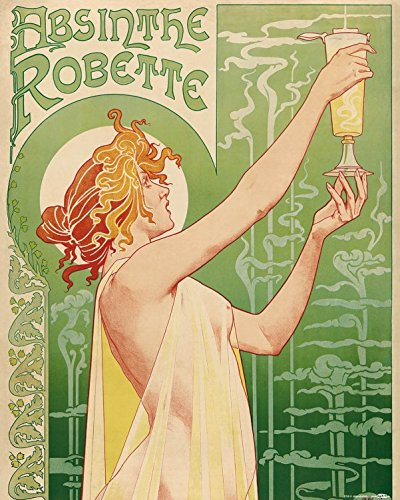 Posters: Historical Advertisement Poster Art Print - Green Fairy, Absinthe Robette, Henri Privat Livemont, 1896 (20 x 16 inches)