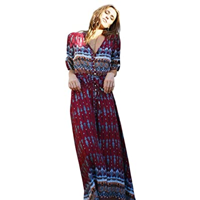 Keepfit Bohemian Long Maxi Dresses Half Sleeve Tunic Sundress for Women: Clothing