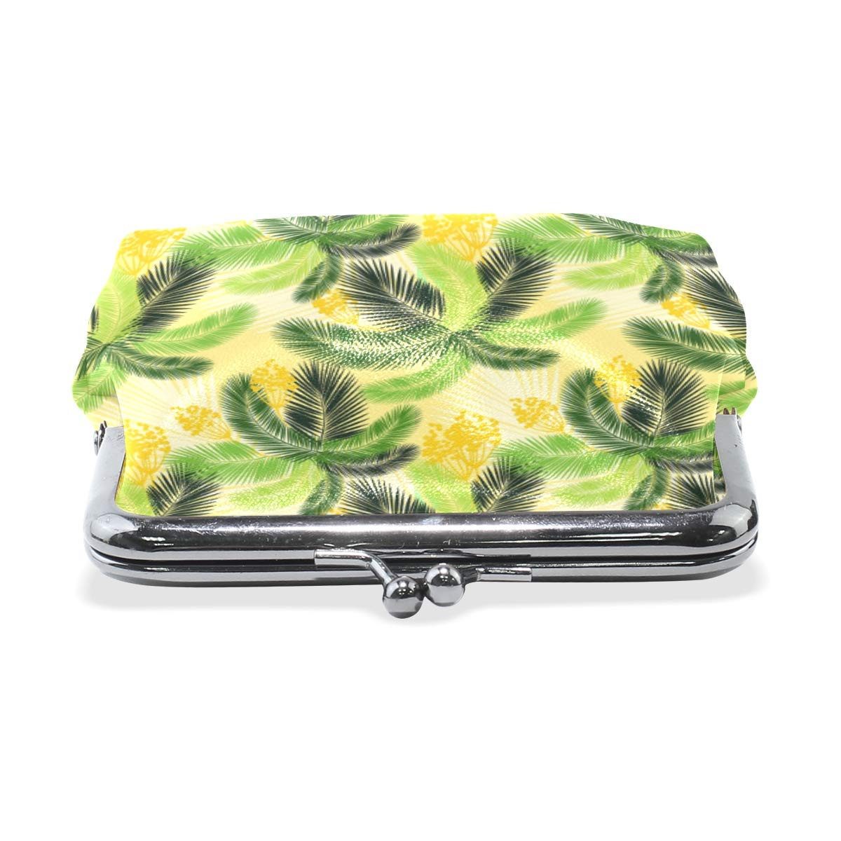 WIHVE Fashion Womens Coin Purse Tropical Green Palm Leaves And Yellow Fruit Vintage Pouch Mini Purse Wallets