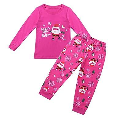 a696c6f2ae521 YiZYiF Enfant Fille Garçon Déguisement Père Noël Ensemble de Pyjama Haut à Manche  Longue Veste Pantalon