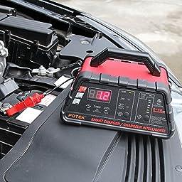 POTEK High Speed Smart Car Battery Charger for All 12V Batteries (2-10A)