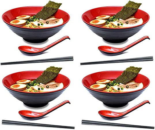 KLDX 4 Juegos (12 Piezas) Tazón japonés de melamina de plástico Duro y Ramen japonés con Palillos a Juego y Cuchara para Fideos asiáticos Udon Soba Pho: Amazon.es: Hogar