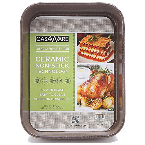casaWare Ceramic Coated NonStick Lasagna/Roaster Pan 13 x 10 x 3-Inch (Brown Granite)