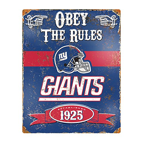 Party Animal NFL Embossed Metal Vintage New York Giants Sign]()