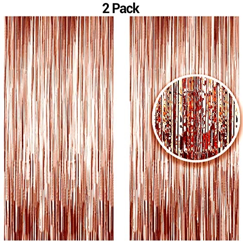 Baby Sweet Cakes (Rose Gold Metallic Tinsel Foil Fringe Curtains Party Photo Booth Props| Backdrop| Wedding Décor| Baby Shower| Graduations| Valentine Day| Bachelorette| Birthday Party| Diwali Door Decorations 2 Pack)