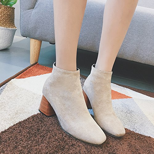 Zipper With Shoes Boots Female Canister KHSKX Martin Korean Short Thirty Heels Rough Naked eight Tide Boots dqFFP7