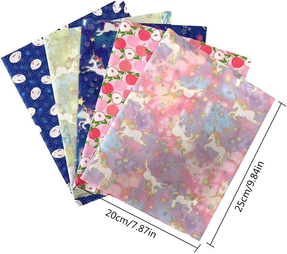 5PCS Cotton Pattern Fabric DIY Patchwork Cloth Floral Printed Cotton Sewing Fabric Small Flower Pattern Japanese Style Floral Fabric for Quilting Crafting 20x25cm