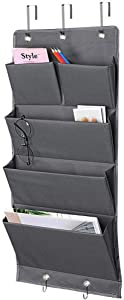 5 Pockets Over The Door Organizer and Storage Hanging with Hooks, Wall Mount Office Supplies File Folders Document Holder for Notebooks, Paper, School Supplies, Closets, Families, Filing (Dark Gray)