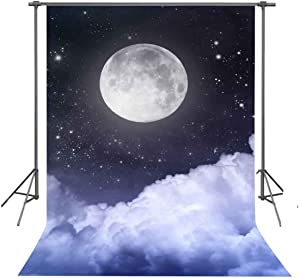 FUERMOR Background 5×7ft White Clouds Under Full Moon Photography Backdrop Space Theme Photo Props RQ003