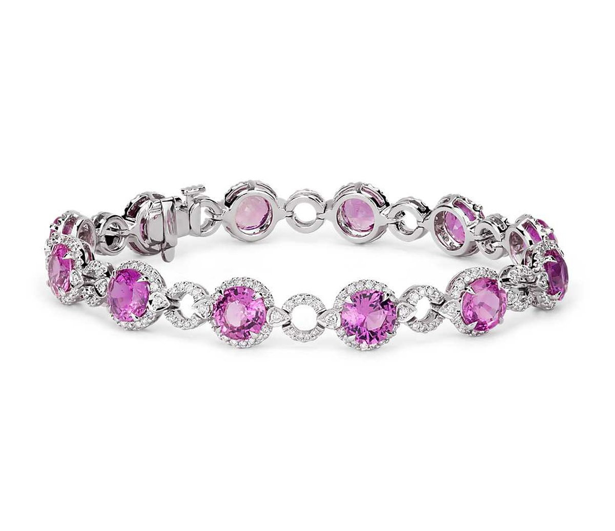 Created Pink CZ In White Gold Plating Bracelet with CZ Diamond Accents, 7''