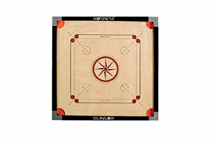 KORNERS Combo of Full Size Carrom Board (Large 32 Inches) with Coins, Striker & Carrom Powder (32 Inches Cut Pocket)