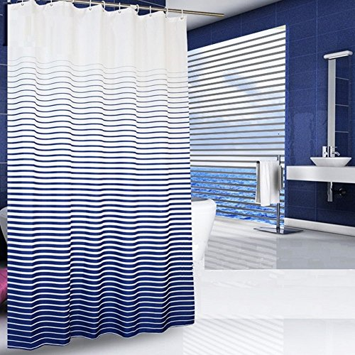 Uforme Ombre Cross Stripes Shower Curtain Fabric Waterproof and Mildew Resistant with Free Hooks (72 Inch By 72 Inch, Blue)