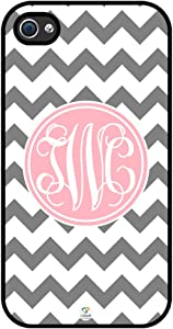 iZERCASE Monogram Personalized Grey and White Chevron Pattern with Cursive Initials Rubber iPhone 4 case - Fits iPhone 4 & iPhone 4s T-Mobile, Verizon, AT&T, Sprint and International (Black)
