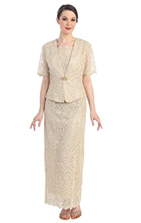 Women s Ladies Mother of the Bride Formal Evening 2 Piece Lace Suit Dress  (Large ceafff796b