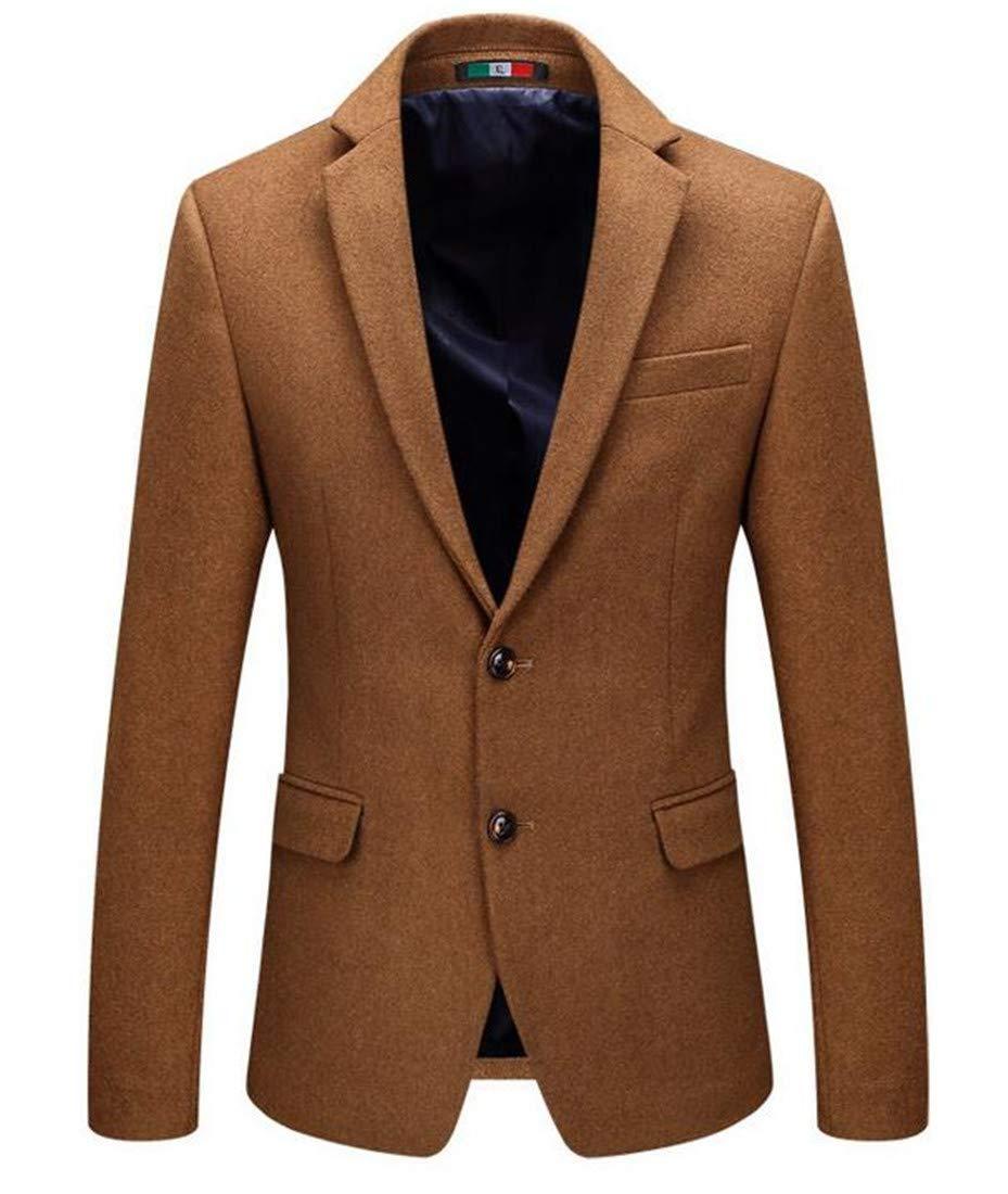 Domple Mens Two Button Casual Lapel Wool Blend Slim Fit Blazer Jacket Sport Coat Camel US XS
