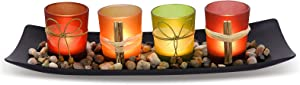 HUANGXIN Tealight Candle Holders Set for Coffee Table Home Decorations Candles Tray Centerpieces for Bathroom Dining Living Room Decor
