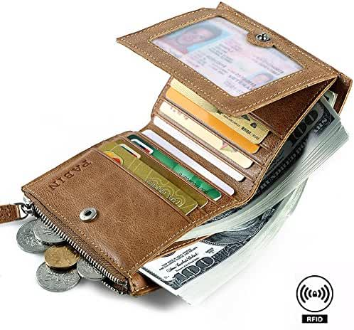RFID Blocking Genuine Leather Trifold Wallets for Men Credit Card Protector Vintage