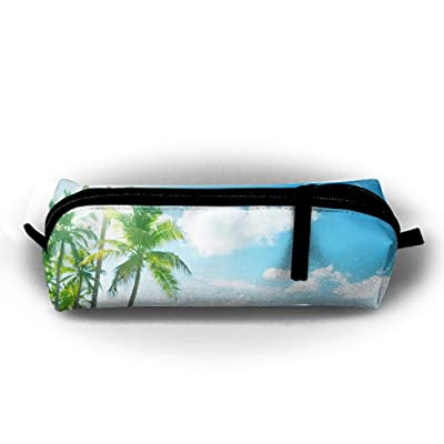 Sun Palm Sea Unisex Stationery Pouch Zipper Cosmetic Bags Cylindrical Purse