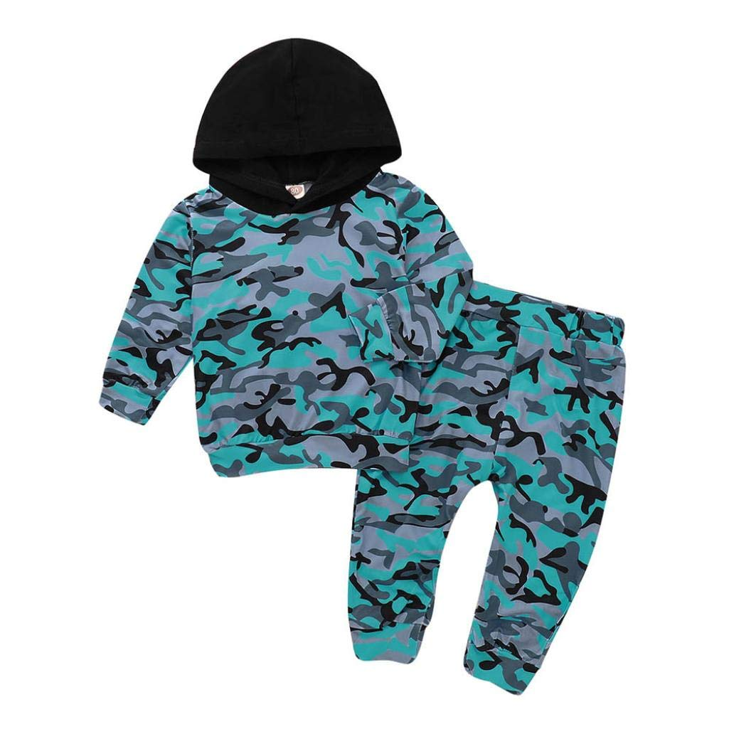 Staron 4T Infant Baby Boy Girls Camouflage Hoodie Long Sleeves Tops+Pant Outfits Set