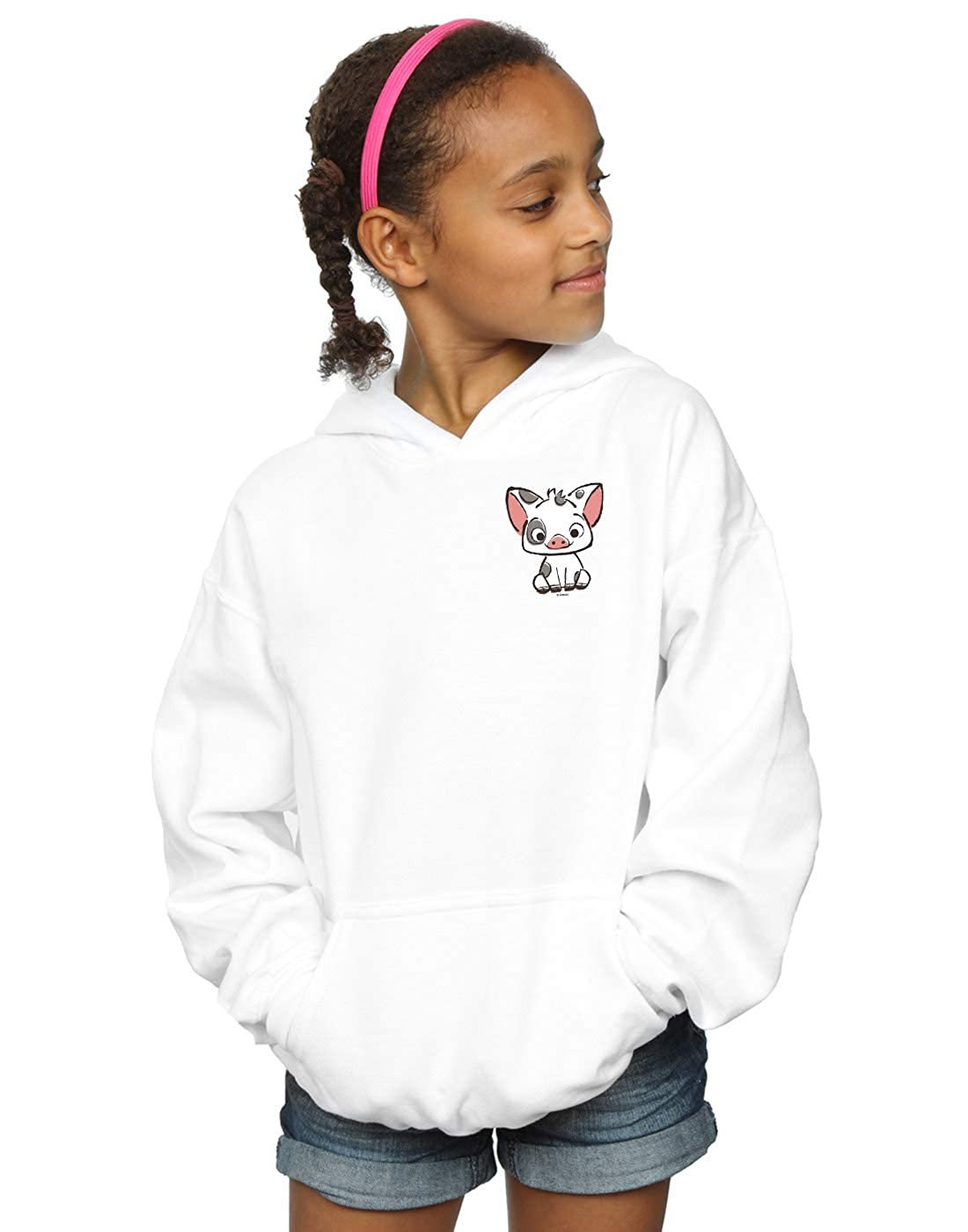 Disney Girls Moana Pua The Pig Breast Print Hoodie