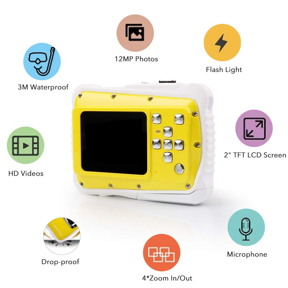 Smyidel Waterproof Mini Kid Camera High Definition 12MP HD 3M Underwater Swimming Digital Camera Camcorder 2.0 Inch LCD Display (Yellow) by Smyidel (Image #6)