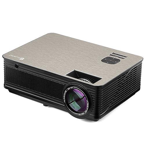 Proyector LED Houzetek Proyectores 4000 Lúmenes 1080P Full HD Mini Proyector Portátil con Altavoz Entretenimiento Home Theater Multimedia con HDMI USB VGA AV para Cine en Casa