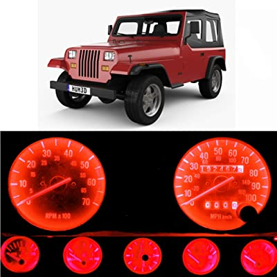 WLJH Bright Red Instrument Panel Gauge Cluster Speedometer Tach Oil Pressure Fuel Temp Clock Indicator Bulb Full Led Light Kits Package Replacement for Jeep Wrangler 1987-1991: Automotive