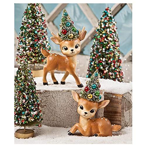 - Bethany Lowe Mini Reindeer Fawn Figurines Holiday Decor Set of 2