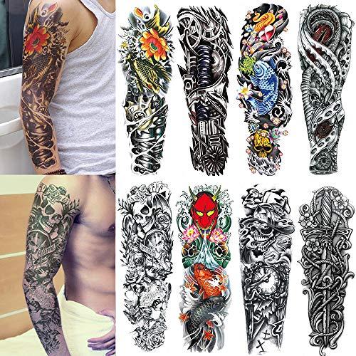 Yesallwas 8 Sheets Full Arm Extra Large Temporary Tattoos, Body Art For Men And Women - Koi Fish,Black Skull,Tribal Symbol,Sword,Ghost Head