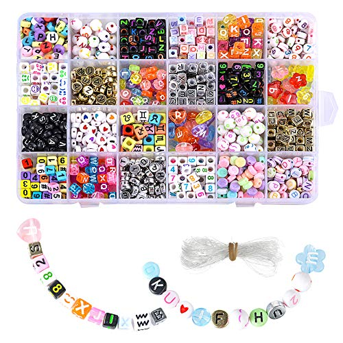 Souarts 1200pcs Acrylic Letter Beads Craft Beads for Bracelets 6x6mm Plastic Beads Letter Cube/Round Shape Loose Beads (Colourful)