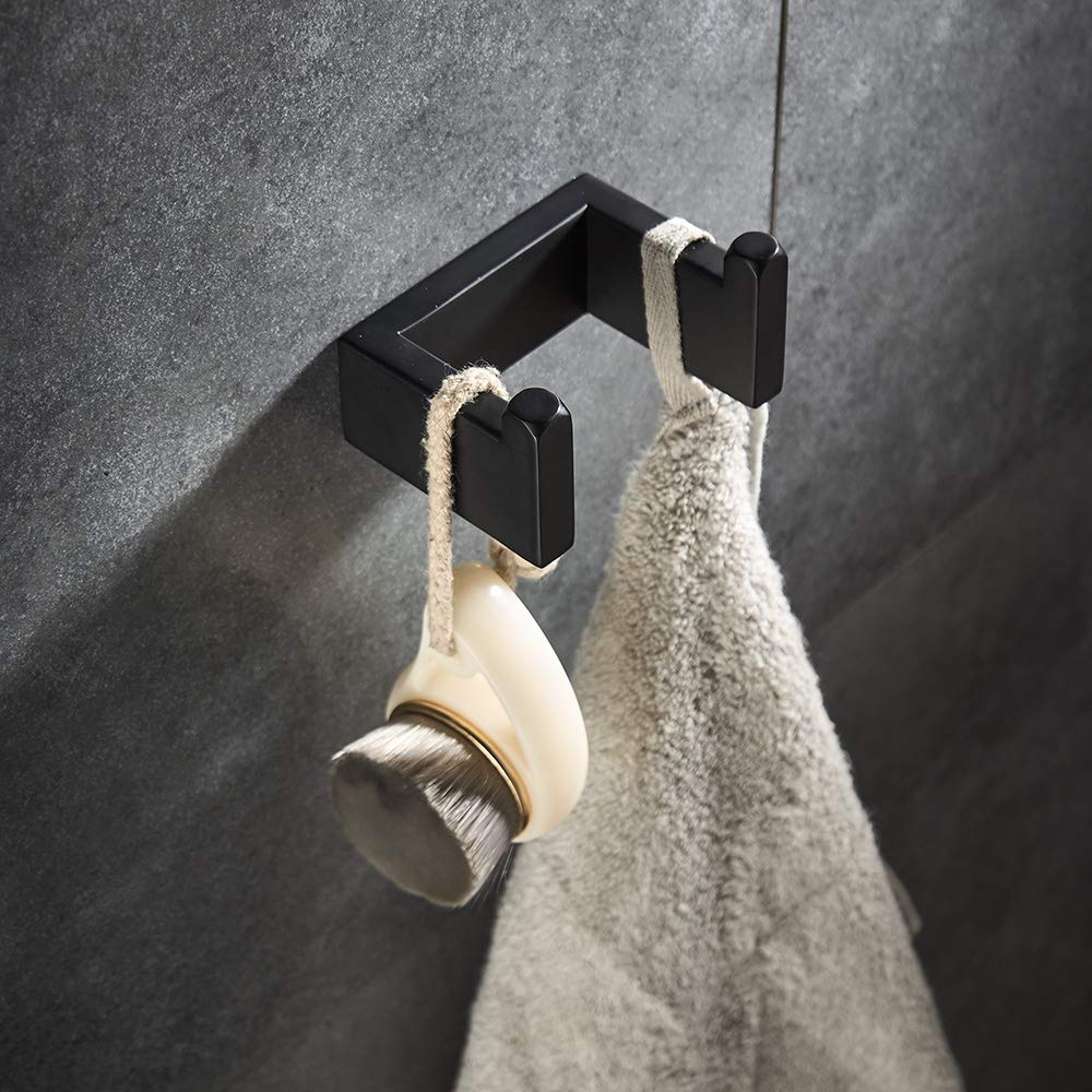 4 piece Bathroom Hardware Set Matte Black Stainless Steel Towel Bar Wall Mounted Bathroom Accessories by YJ YANJUN (Image #4)