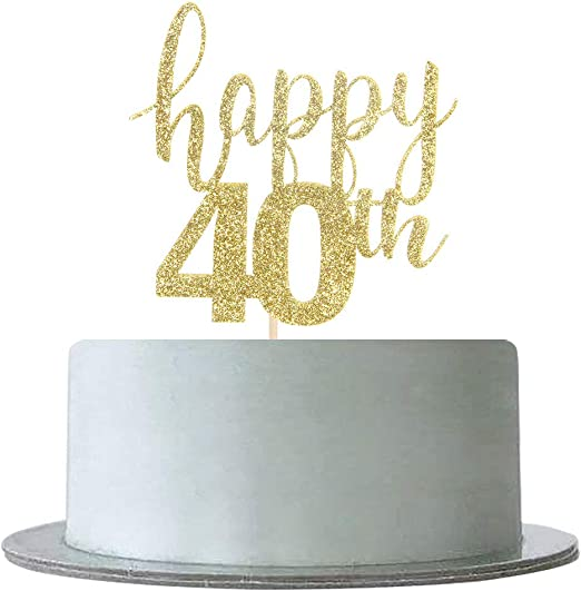 Double Sided 40th Birthday Party Cake Candle