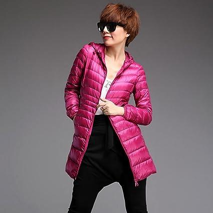 Frashing Damen Mantel Damen Steppmantel Lange Jacke gefüttert mit hochabschließender  Kapuze und Fellkragen aus hochwertiger Materialqualität Dünnschliff ... 46245ce56b