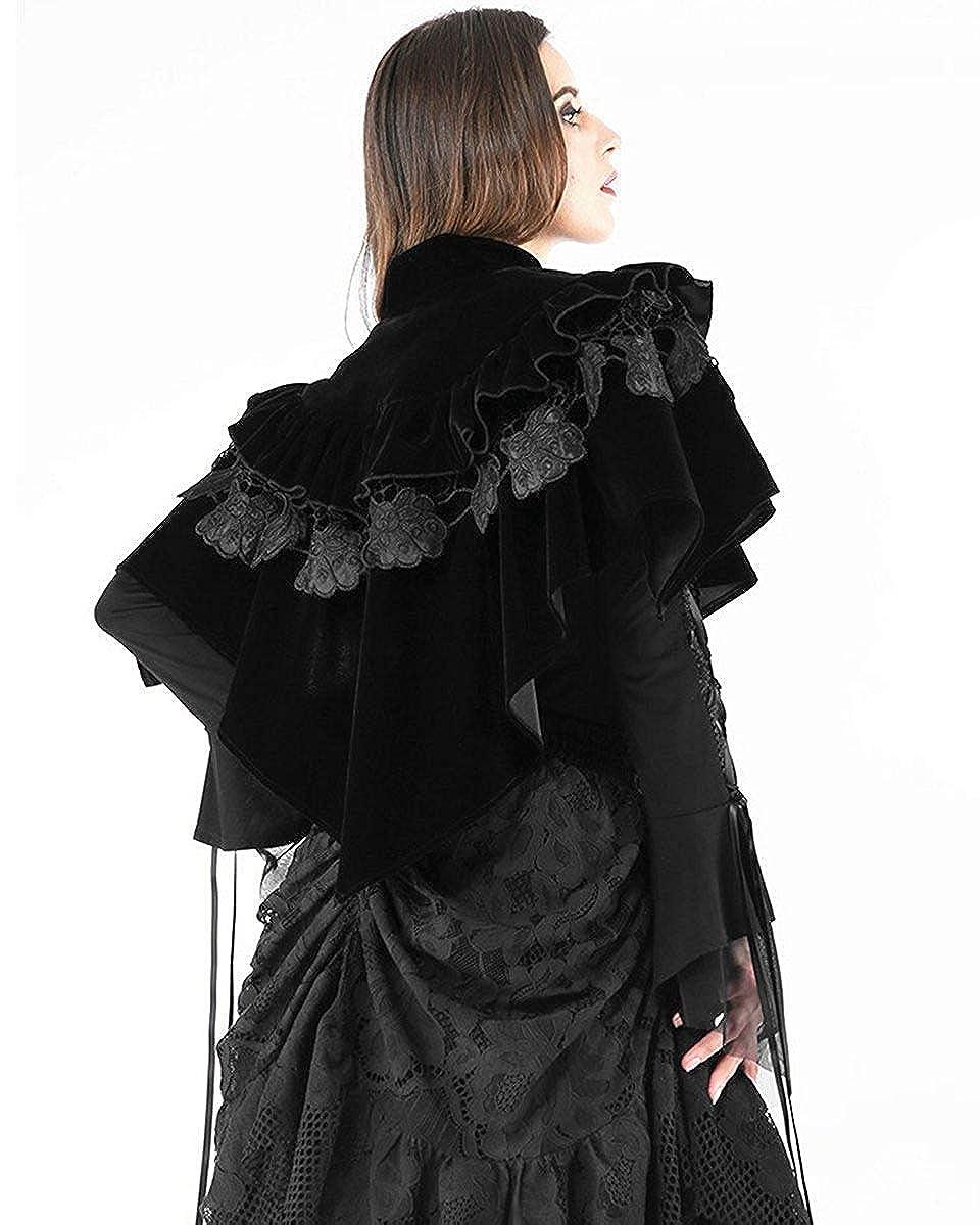 Dark In Love Damen Gotik Umhang Schwarz samt Schulterjacke Schal Steampunk Vintage Viktorianisch
