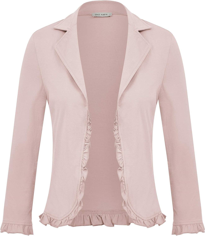 GRACE KARIN Women Office Casual Cropped Blazer Jacket Open Front Cardigan