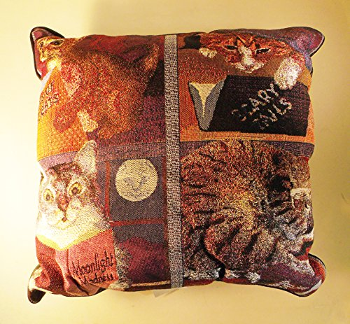 """Cats Reading Books Tapestry Pillow - 14"""" x 14"""""""