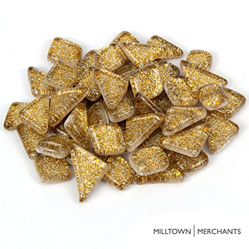Milltown Merchants™ Gold Glitter Mosaic Tile Pieces – Bulk Sparkle Mosaic Tiles – 3 Pound (48 oz) Shimmer Tile Assortment For Backsplash, Murals, Stepping Stones, and Mosaics
