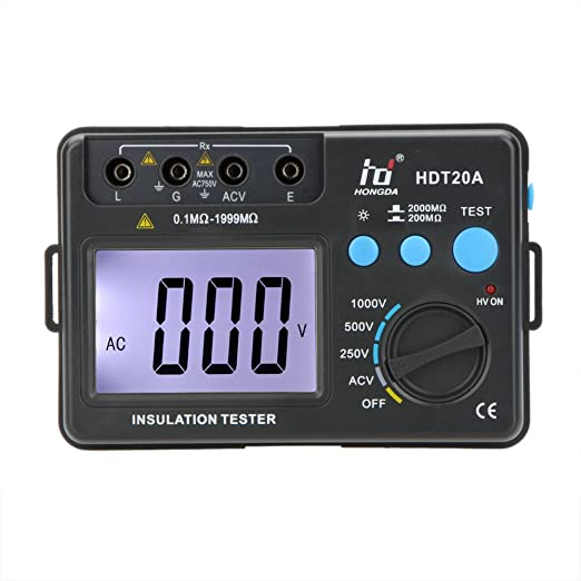 2 opinioni per KKmoon HD HDT20A Tester Resistenza d'Isolamento Meter Megohmmeter Voltmetro