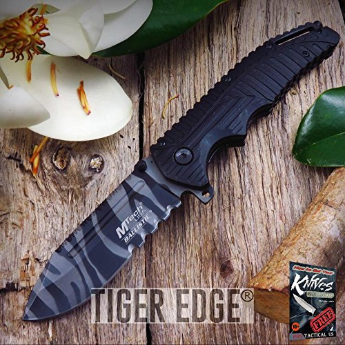 (NEW! Mtech Urban Camo Tiger Stripe Serrated Spring Assisted Tactical Elite Folding Knife + free eBook by ProTactical'US)